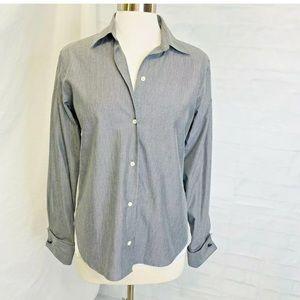 Brooks Brothers Womens 10 Shirt Gray White Stripe